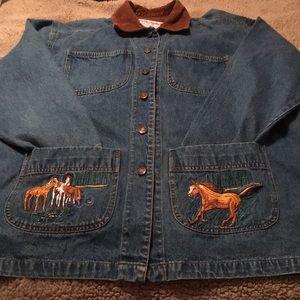 Casey Coleman Denim Jacket Size ML Horses